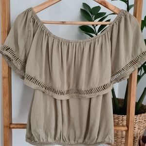 Billabong Women's Khaki Green Top Size L/G
